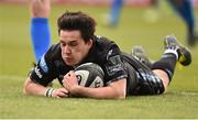 13 April 2019; Sam Johnson of Glasgow Warriors touches down to score his side's first try during the Guinness PRO14 Round 20 match between Leinster and Glasgow Warriors at the RDS Arena in Dublin. Photo by Ben McShane/Sportsfile