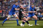 13 April 2019; Stuart Hogg of Glasgow Warriors in action against Caelan Doris, left, and James Tracy of Leinster during the Guinness PRO14 Round 20 match between Leinster and Glasgow Warriors at the RDS Arena in Dublin. Photo by Stephen McCarthy/Sportsfile