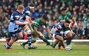 13 April 2019; Jarrad Butler of Connacht, supported by Bundee Aki, right, in action against Cardiff Blues players, from left, Rhys Gill, Rory Thornton, and Willis Halaholo  during the Guinness PRO14 Round 20 match between Connacht and Cardiff Blues at The Sportsground in Galway. Photo by Piaras Ó Mídheach/Sportsfile