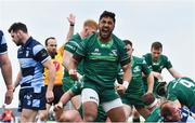 13 April 2019; Bundee Aki of Connacht celebrates his side's second try, scored by team-mate Gavin Thornbury, during the Guinness PRO14 Round 20 match between Connacht and Cardiff Blues at The Sportsground in Galway. Photo by Piaras Ó Mídheach/Sportsfile