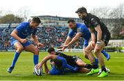 13 April 2019; Rob Kearney of Leinster celebrates with team-mates Ross Byrne, left, and Dave Kearney after scoring his side's third try during the Guinness PRO14 Round 20 match between Leinster and Glasgow Warriors at the RDS Arena in Dublin. Photo by Ramsey Cardy/Sportsfile