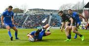13 April 2019; Rob Kearney of Leinster scores his side's third try despite the tackle of Ali Price of Glasgow Warriors during the Guinness PRO14 Round 20 match between Leinster and Glasgow Warriors at the RDS Arena in Dublin. Photo by Ramsey Cardy/Sportsfile