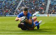 13 April 2019; Rob Kearney of Leinster dives over to score his side's third try despite the tackle of Ali Price of Glasgow Warriors during the Guinness PRO14 Round 20 match between Leinster and Glasgow Warriors at the RDS Arena in Dublin. Photo by Ramsey Cardy/Sportsfile