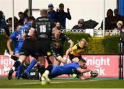 13 April 2019; Rob Kearney of Leinster goes over to score his side's third try during the Guinness PRO14 Round 20 match between Leinster and Glasgow Warriors at the RDS Arena in Dublin. Photo by Stephen McCarthy/Sportsfile