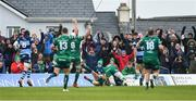 13 April 2019; Connacht supporters celebrate their third try, scored by Jack Carty, during the Guinness PRO14 Round 20 match between Connacht and Cardiff Blues at The Sportsground in Galway. Photo by Piaras Ó Mídheach/Sportsfile