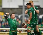 13 April 2019; Jack Carty of Connacht, left, celebrates after scoring his side's third try during the Guinness PRO14 Round 20 match between Connacht and Cardiff Blues at The Sportsground in Galway. Photo by Seb Daly/Sportsfile