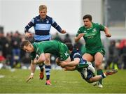13 April 2019; Matt Healy of Connacht is tackled by Tomos Williams of Cardiff Blues during the Guinness PRO14 Round 20 match between Connacht and Cardiff Blues at The Sportsground in Galway. Photo by Seb Daly/Sportsfile
