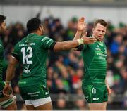 13 April 2019; Jack Carty of Connacht, right, is congratulated by team-mate Bundee Aki after scoring his side's third try during the Guinness PRO14 Round 20 match between Connacht and Cardiff Blues at The Sportsground in Galway. Photo by Seb Daly/Sportsfile