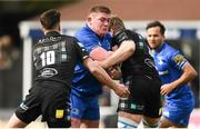 13 April 2019; Tadhg Furlong of Leinster is tackled by Adam Hastings, left, and Jonny Gray of Glasgow Warriors during the Guinness PRO14 Round 20 match between Leinster and Glasgow Warriors at the RDS Arena in Dublin. Photo by Stephen McCarthy/Sportsfile