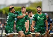 13 April 2019; Jack Carty of Connacht, centre, is congratulated by team-mate Bundee Aki after scoring his side's third try during the Guinness PRO14 Round 20 match between Connacht and Cardiff Blues at The Sportsground in Galway. Photo by Seb Daly/Sportsfile