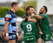 13 April 2019; Jack Carty of Connacht, centre, is congratulated by team-mates Caolin Blade and Bundee Aki after scoring his side's third try during the Guinness PRO14 Round 20 match between Connacht and Cardiff Blues at The Sportsground in Galway. Photo by Seb Daly/Sportsfile