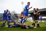 13 April 2019; Jordan Larmour celebrates after his Leinster team-mate Dave Kearney scored their side's fourth try during the Guinness PRO14 Round 20 match between Leinster and Glasgow Warriors at the RDS Arena in Dublin. Photo by Stephen McCarthy/Sportsfile