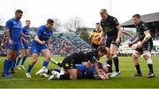 13 April 2019; Dave Kearney of Leinster goes over to score his side's fourth try during the Guinness PRO14 Round 20 match between Leinster and Glasgow Warriors at the RDS Arena in Dublin. Photo by Stephen McCarthy/Sportsfile
