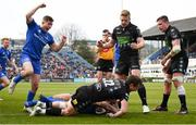 13 April 2019; Jordan Larmour celebrates as his Leinster team-mate Dave Kearney goes over to score his side's fourth try during the Guinness PRO14 Round 20 match between Leinster and Glasgow Warriors at the RDS Arena in Dublin. Photo by Stephen McCarthy/Sportsfile