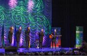 13 April 2019; Leinster team Niamh Delaney, Valene Greer, Sarah Kenny, Zoe Rooney and Avril Spain from Ferbane, Offaly, competing in the Bailéad Ghrúpa catagory during the Scór Sinsir All Ireland Finals at the TF Royal hotel and theatre, Old Westport road in Castlebar, Co Mayo. Photo by Eóin Noonan/Sportsfile