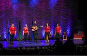 13 April 2019; Ulster team Monica Mallon, Orla Treanor, Geralding McLoughlin, Blanaid McGivern and Stephen Murphy from Carrickcruppen, Armagh, competing in the Bailéad Ghrúpa catagory during the Scór Sinsir All Ireland Finals at the TF Royal hotel and theatre, Old Westport road in Castlebar, Co Mayo. Photo by Eóin Noonan/Sportsfile