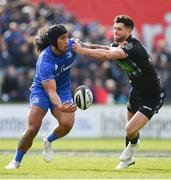 13 April 2019; Joe Tomane of Leinster is tackled by Adam Hastings of Glasgow Warriors during the Guinness PRO14 Round 20 match between Leinster and Glasgow Warriors at the RDS Arena in Dublin. Photo by Ramsey Cardy/Sportsfile