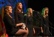 13 April 2019; Munster team Rachel Hodnett Rachel O'Sullivan, Aine Fitzgerald, Ashlie O'Sullivan and Amy O'Sullivan from St. James, Cork, competing in the Bailéad Ghrúpa catagory during the Scór Sinsir All Ireland Finals at the TF Royal hotel and theatre, Old Westport road in Castlebar, Co Mayo. Photo by Eóin Noonan/Sportsfile