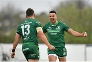 13 April 2019; Cian Kelleher, right, and Tom Farrell of Connacht celebrate their side's victory following the Guinness PRO14 Round 20 match between Connacht and Cardiff Blues at The Sportsground in Galway. Photo by Seb Daly/Sportsfile