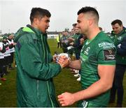 13 April 2019; Cian Kelleher of Connacht, right, is presented with a shirt by captain Jarrad Butler following the Guinness PRO14 Round 20 match between Connacht and Cardiff Blues at The Sportsground in Galway. Photo by Seb Daly/Sportsfile