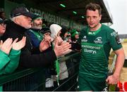 13 April 2019; Jack Carty of Connacht with supporters following the Guinness PRO14 Round 20 match between Connacht and Cardiff Blues at The Sportsground in Galway. Photo by Seb Daly/Sportsfile