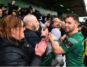 13 April 2019; Caolin Blade of Connacht with supporters following the Guinness PRO14 Round 20 match between Connacht and Cardiff Blues at The Sportsground in Galway. Photo by Seb Daly/Sportsfile