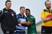 13 April 2019; Bundee Aki of Connacht and Gareth Anscombe of Cardiff Blues embrace as they wait for referee Mike Adamson to award a try to Matt Healy of Connacht during the Guinness PRO14 Round 20 match between Connacht and Cardiff Blues at The Sportsground in Galway. Photo by Piaras Ó Mídheach/Sportsfile