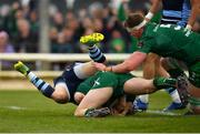 13 April 2019; Jack Carty of Connacht goes over to score his side's third try, despite the tackle of Owen Lane of Cardiff Blues, during the Guinness PRO14 Round 20 match between Connacht and Cardiff Blues at The Sportsground in Galway. Photo by Seb Daly/Sportsfile