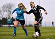13 April 2019; Eabha O'Mahony of Cork City in action against Bobbi Downer of DLR Waves during the Só Hotels Women's National League match between DLR Waves and Cork City FC at Jackson Park in Kilternan, Dublin. Photo by Ben McShane/Sportsfile