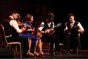 13 April 2019; Ulster team Ciaran Martin, Emma McGlone, Darren McPeake, Alexander Meyer and Molly Walls from St.Ergnats, Moneyglass, Antrim, competing in the Ceol Uirlise catagory during the Scór Sinsir All Ireland Finals at the TF Royal hotel and theatre, Old Westport road in Castlebar, Co Mayo. Photo by Eóin Noonan/Sportsfile