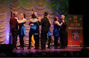 13 April 2019; Munster team Kevin Hanrahan, Kieran Moroney, Killian Noemoyle, Danny Pyne, Gillian Griffin, Lauren Griffin, Louise Griffin and Sinead Neylon from Lissycasey, Clare,  competing in the Rince Seit catagory during the Scór Sinsir All Ireland Finals at the TF Royal hotel and theatre, Old Westport road in Castlebar, Co Mayo. Photo by Eóin Noonan/Sportsfile