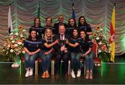 13 April 2019; Munster team from Newcastle, Tipperary, Danielle McCarthy, Sinéad Grant, Leah Condon, Eimear O'Connor, Veronica McNamara, Orlaith Nugent, Chloe Hennebry and Kayleigh O'Brien with Uachtarán Chumann Lúthchleas Gael John Horan after winning the Rince Foirne catagory during the Scór Sinsir All Ireland Finals at the TF Royal hotel and theatre, Old Westport road in Castlebar, Co Mayo. Photo by Eóin Noonan/Sportsfile