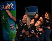 13 April 2019; Munster team from Newcastle, Tipperary, Danielle McCarthy, Sinéad Grant, Leah Condon, Eimear O'Connor, Veronica McNamara, Orlaith Nugent, Chloe Hennebry and Kayleigh O'Brien after winning the Rince Foirne catagory during the Scór Sinsir All Ireland Finals at the TF Royal hotel and theatre, Old Westport road in Castlebar, Co Mayo. Photo by Eóin Noonan/Sportsfile