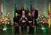 13 April 2019; Leinster team Niamh Delaney, Valene Greer, Sarah Kenny, Zoe Rooney and Avril Spain from Ferbane, Offaly, are presented with the cup by Uachtarán Chumann Lúthchleas Gael John Horan and Aodán Ó Braonáin, Cathaoirleach, Choiste Náisiúnta Scór after winning the Bailéad Ghrúpa catagory  during the Scór Sinsir All Ireland Finals at the TF Royal hotel and theatre, Old Westport road in Castlebar, Co Mayo. Photo by Eóin Noonan/Sportsfile