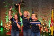 13 April 2019; Munster team from Newcastle, Tipperary, Chloe Hennebry, Sinéad Grant and Kayleigh O'Brien celebrate after winning the Rince Foirne catagory during the Scór Sinsir All Ireland Finals at the TF Royal hotel and theatre, Old Westport road in Castlebar, Co Mayo. Photo by Eóin Noonan/Sportsfile