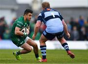 13 April 2019; Tiernan O'Halloran of Connacht in action against Rhys Gill of Cardiff Blues during the Guinness PRO14 Round 20 match between Connacht and Cardiff Blues at The Sportsground in Galway. Photo by Piaras Ó Mídheach/Sportsfile