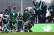 13 April 2019; Tom Farrell of Connacht celebrates a second half try scored by team-mate Matt Healy during the Guinness PRO14 Round 20 match between Connacht and Cardiff Blues at The Sportsground in Galway. Photo by Piaras Ó Mídheach/Sportsfile