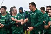 13 April 2019; Connacht players Jack Carty, left, and Robin Copeland celebrate after the Guinness PRO14 Round 20 match between Connacht and Cardiff Blues at The Sportsground in Galway. Photo by Piaras Ó Mídheach/Sportsfile