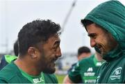 13 April 2019; Connacht players Bundee Aki, left, and Tiernan O'Halloran celebrate after the Guinness PRO14 Round 20 match between Connacht and Cardiff Blues at The Sportsground in Galway. Photo by Piaras Ó Mídheach/Sportsfile