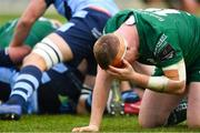 13 April 2019; Shane Delahunt of Connacht holds his head after picking up a blood injury during the Guinness PRO14 Round 20 match between Connacht and Cardiff Blues at The Sportsground in Galway. Photo by Piaras Ó Mídheach/Sportsfile