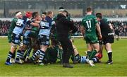 13 April 2019; Players from both sides tussle after the Guinness PRO14 Round 20 match between Connacht and Cardiff Blues at The Sportsground in Galway. Photo by Piaras Ó Mídheach/Sportsfile