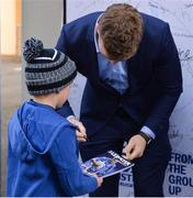 13 April 2019; Leinster player Josh Van Der Flier in Autograph Alley ahead of the Guinness PRO14 Round 20 match between Leinster and Glasgow Warriors at the RDS Arena in Dublin. Photo by Ben McShane/Sportsfile