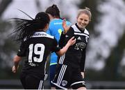 13 April 2019; Katie McCarthy of Cork City celebrates after scoring his side's first goal with team-mate Lauren Egbuloniu during the Só Hotels Women's National League match between DLR Waves and Cork City FC at Jackson Park in Kilternan, Dublin. Photo by Ben McShane/Sportsfile