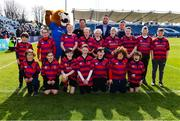 13 April 2019; The Athboy RFC team with Leinster players Jack Conan and Bryan Byrne ahead of the Guinness PRO14 Round 20 match between Leinster and Glasgow Warriors at the RDS Arena in Dublin. Photo by Ramsey Cardy/Sportsfile