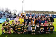 13 April 2019; The West Offaly Lions RFC team with Leinster players Jack Conan and Bryan Byrne ahead of the Guinness PRO14 Round 20 match between Leinster and Glasgow Warriors at the RDS Arena in Dublin. Photo by Ramsey Cardy/Sportsfile