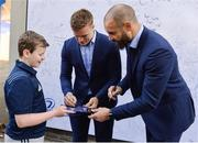 13 April 2019; Leinster players Josh Van Der Flier and Scott Fardy in Autograph Alley ahead of the Guinness PRO14 Round 20 match between Leinster and Glasgow Warriors at the RDS Arena in Dublin. Photo by Ben McShane/Sportsfile