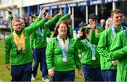 13 April 2019; Members of the Special Olympics Ireland team parade at half time of the Guinness PRO14 Round 20 match between Leinster and Glasgow Warriors at the RDS Arena in Dublin. Photo by Ramsey Cardy/Sportsfile