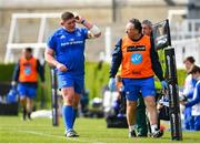 13 April 2019; Tadhg Furlong of Leinster leaves the pitch with an injury assisted by Leinster team doctor Prof John Ryan during the Guinness PRO14 Round 20 match between Leinster and Glasgow Warriors at the RDS Arena in Dublin. Photo by Ramsey Cardy/Sportsfile