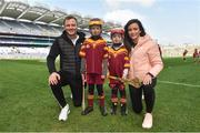 13 April 2019; Wexford hurler Matthew O'Hanlon and Dublin footballer Niamh McEvoy with Fionn Currann and Kevin Walsh from Éire Óg Corra Choill Hurling Club Co Kildare at the Littlewoods Ireland Go Games Provincial Days in Croke Park. This year over 6,000 boys and girls aged between six and twelve represented their clubs in a series of mini blitzes and just like their heroes got to play in Croke Park. Photo by Matt Browne/Sportsfile