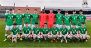 12 April 2019; Republic of Ireland squad, back row, from left, Jake Ellis, Lee McLaughlin, Brandon Bermingham, Daragh Ellison, David Odumosu, Jamie Cleary, Reece Murphy, Adam Lynch, Keith Carter and Josh Honohan. Front row, from left, Donal Higgins, Niall O'Keeffe, Matthew O'Reilly, Corey McBride, James Clarke, Ross Tierney, Jack Doherty and Colin Kelly prior to the SAFIB Centenary Shield Under 18 Boy's International match between Republic of Ireland and England at Dalymount Park in Dublin. Photo by Ben McShane/Sportsfile
